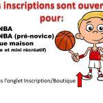 Inscription Jr NBA et Jr NBA pré-novice